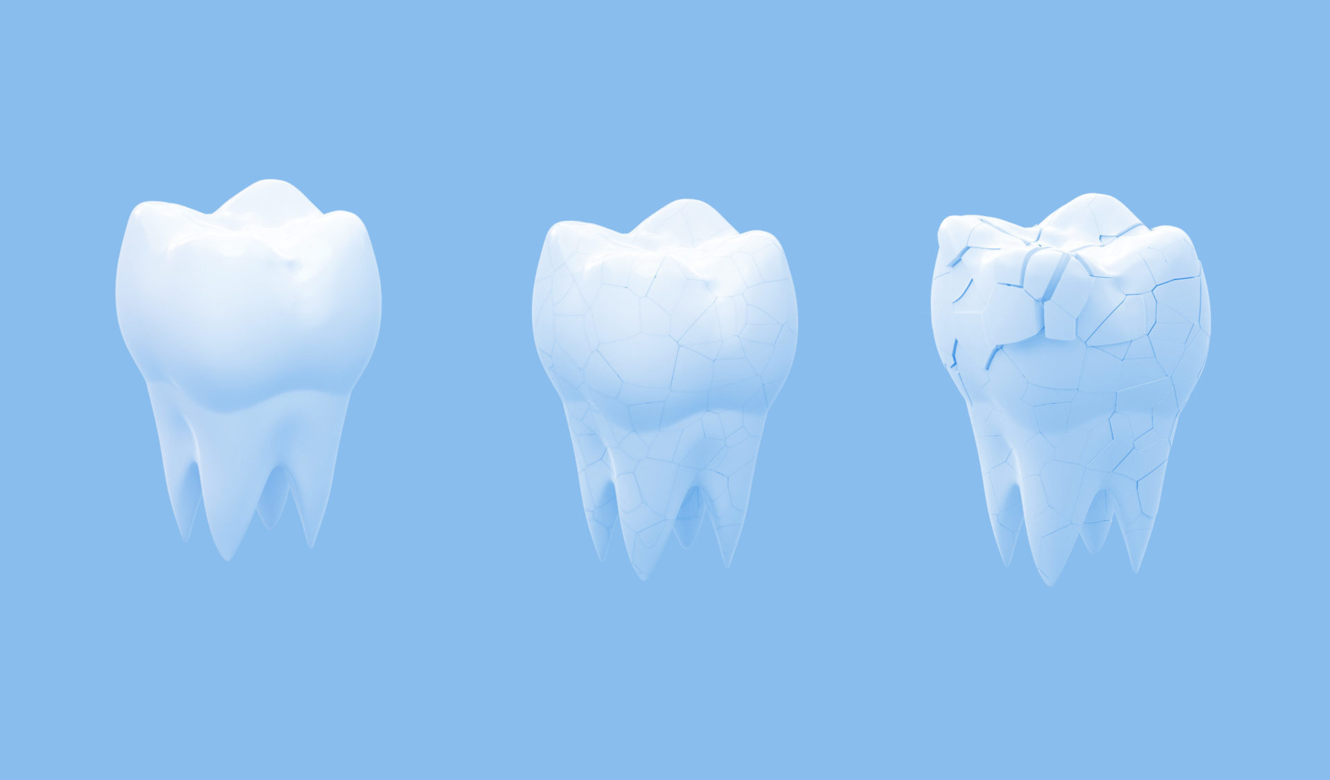 Human teeth that are healthy and weak